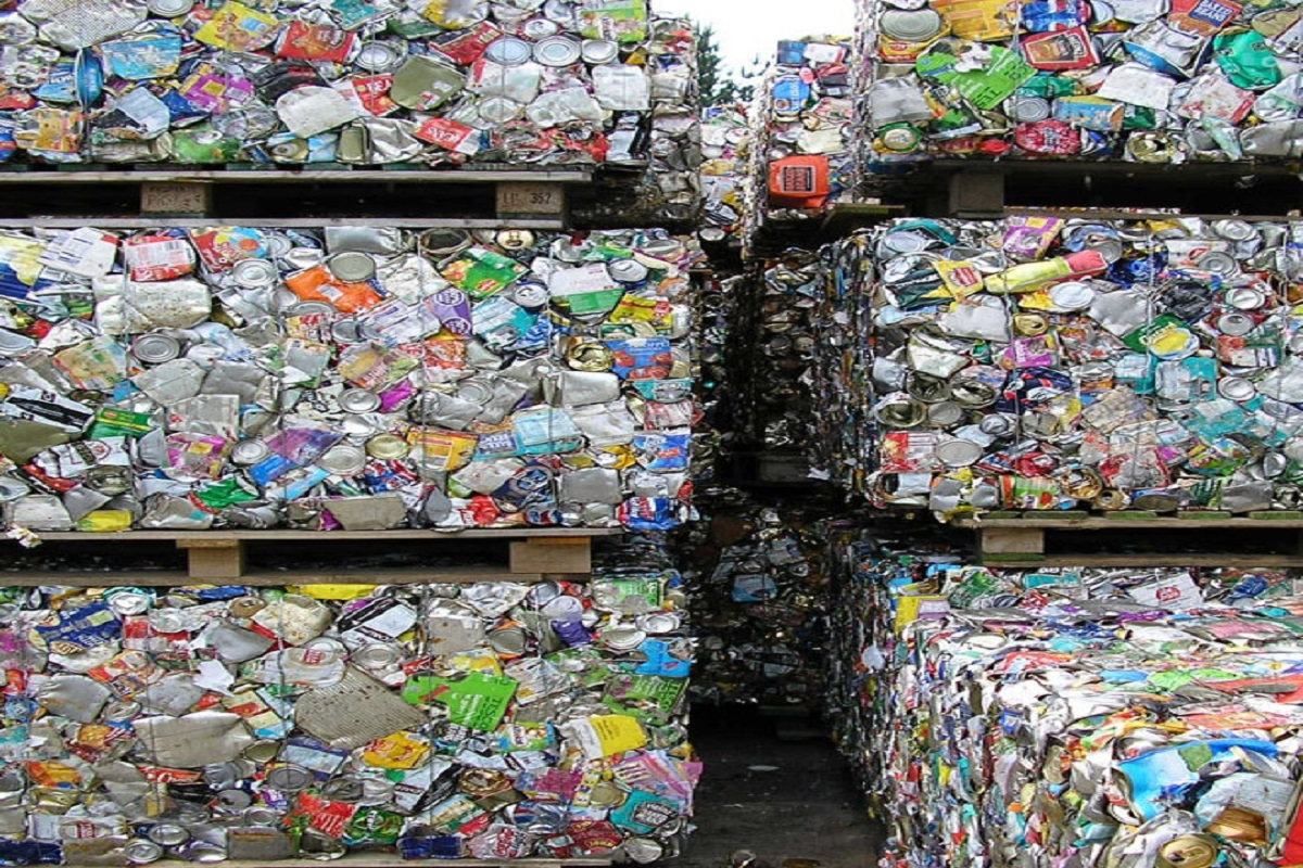 Stacks of crushed cans