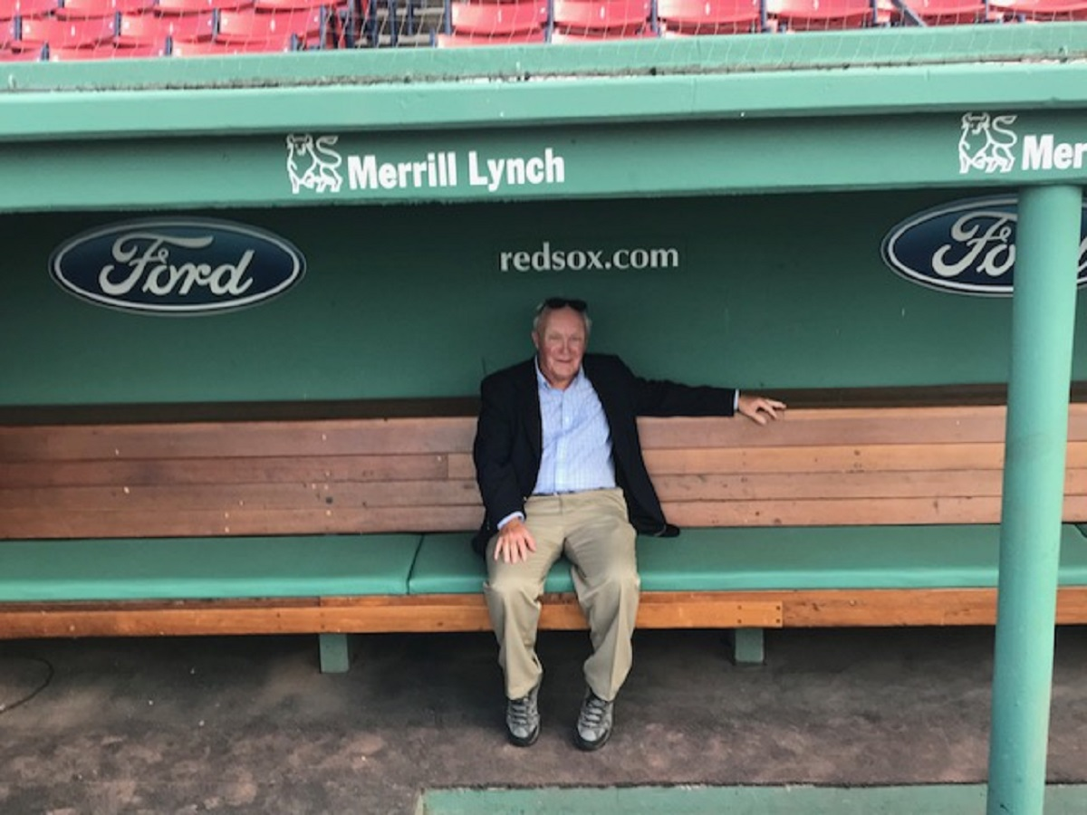 Andy in the regal BoSox dugout itself