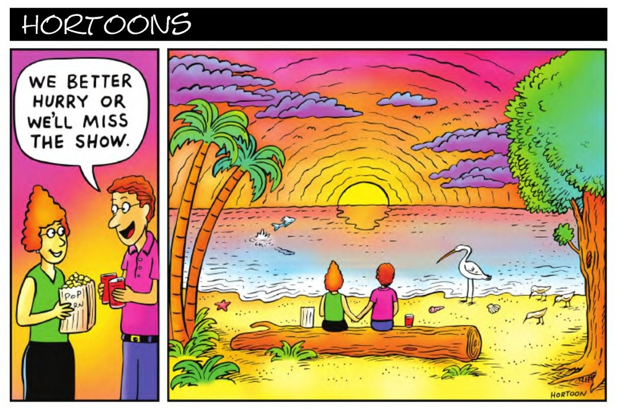 """Cartoon that shows two people that say """"we better hurry or we'll miss the show"""" then they are by the water watching the sun set."""