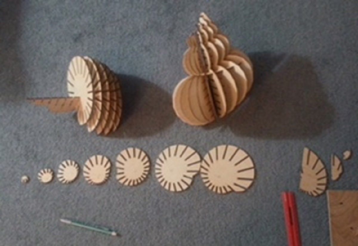 Wood pieces to make a seashell