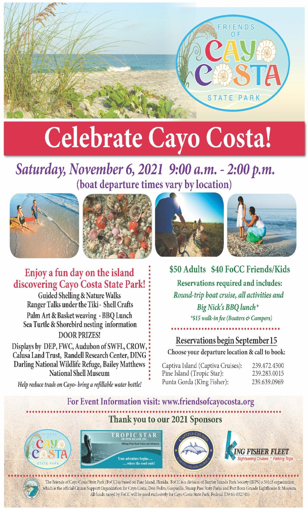 Flyer for Celebrate Cayo Costa event